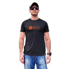 Imagem de Camiseta masculina sustentável Waveholic  mescla grafite logo laranja