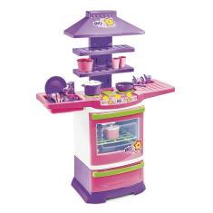 Imagem de Cozinha Infantil Armário Pia Fogão Completa Com Acessórios