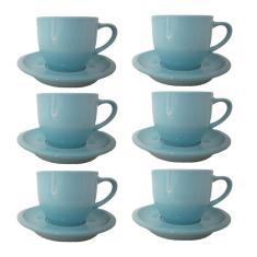Imagem de Jogo 6 Xícara Chá Café Azul 95Ml Com Pires Porcelana