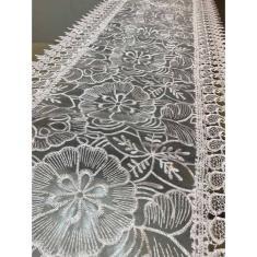 Imagem de Caminho De Mesa Bordado Guipir 40 X 83cm Trilho Renda Croche