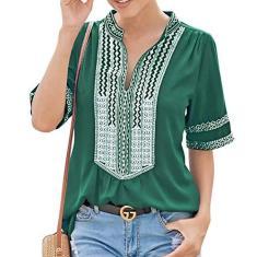 Imagem de Cotrio Blusas femininas com decote em V Camiseta feminina casual estampa floral boho manga curta tops tamanho XL verde