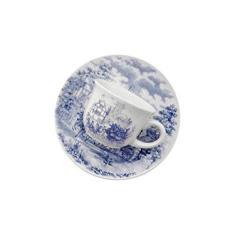 Imagem de Conjunto com 6 Xícaras de Cafezinho Biona Cena Inglesa Branco/Azul