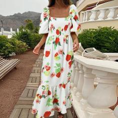 Imagem de Vestido longo feminino estampado floral estampado longo Puff manga curta colarinho quadrado festa casual babado vestido maxi plus size  5XL