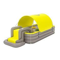 Imagem de DFYR Piscina inflável com dossel, piscina infantil com escorregador, piscina familiar para crianças, jardim de inflação automática, quintal, festa aquática de verão