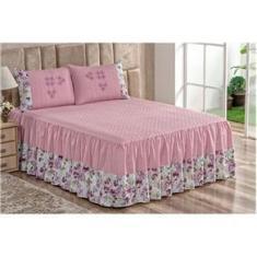 Imagem de Colcha Casal 2,40x2,40m Conjunto Kit 2 Porta Travesseiros Rosê Fronhas Bordados