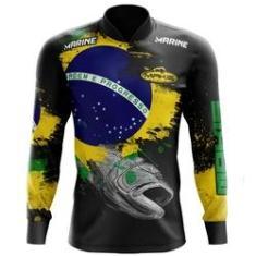 Imagem de Camisa De Pesca Proteção Solar Uv50 Makis Fishing MK-03 Patriota