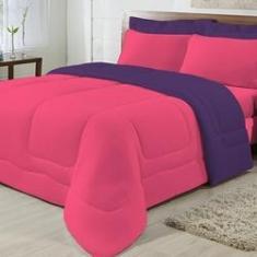 Imagem de Kit 5 Peças Edredom Casal 100% Algodão Pink com Roxo