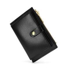 Imagem de Porta-cartões para bolsas e bolsas de couro macio feminino Bolsa de dinheiro com zíper para moedas