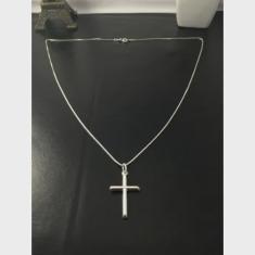Imagem de Corrente Cordão Prata Maciça 925 C/ Pingente Crucifixo 70cm