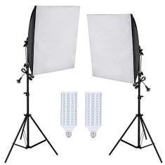 Imagem de Kit Iluminação Estúdio LED 2x60W Softbox 40x60cm com Tripé