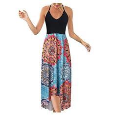 Imagem de SLENDIPLUS Vestidos de verão para mulheres sexy plus size maxi vestido casual moderno decote em V sem mangas alças aberto nas costas, , XXG