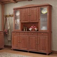 Imagem de Armário Cristaleira para Cozinha Linha Rubi Imbuia 08 Portas e Vidro Liso Incolor 04 Gavetas Madeira Maciça Pinus - Finestra
