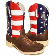 Imagem de Bota Texana Bandeira Americana Cruz Sola Marfi Bico Quadrado