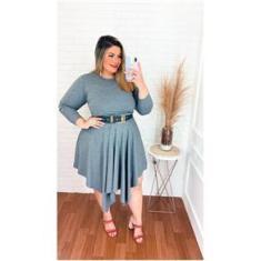 Imagem de Vestido Plus Size  Com Cinto Assimétrico Roupas Femininas
