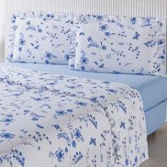 Imagem de Jogo de Cama Casal Blue Flower Percal 180 Fios 4 Peças - Casa & Conforto