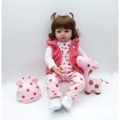 Imagem de Boneca Bebê Reborn Real Realista Com Cabelo Menina Roupa Girafa  48 cm 11 Acessórios