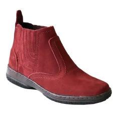 Imagem de bota em couro nobuck camurça legitimo solado costurado botina  vinho bordo botinha solado costurado calçado social casual masculina unisex reforçado resistente