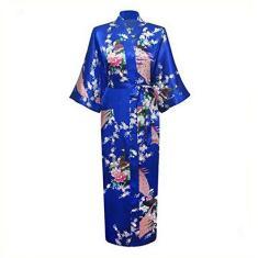 Imagem de Roupão longo feminino com bolso, vestido de dama de honra, vestido de noite, quimono de rayon,  1, XXG