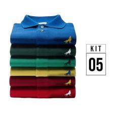 Imagem de Kit com 5 Camisas Polo masculinas Vira Lata Originais Tecido Piquet -