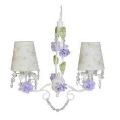 Imagem de Lustre Pendente Tema Flores Para Meninas Com Cristais Egípcios Com 2 Cupulas Provençal Princesas 45X45Cm