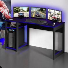 Imagem de Mesa Gamer Destiny Ideal para 3 Monitores Preto/Azul - Tecno Mobili