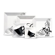 Aparelho de Jantar Quadrado de Porcelana 42 peças - Quartier Tattoo Oxford Porcelanas