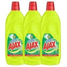 Kit Com 3 Limpador Diluível Ajax Fresh Lemon 1L Cada