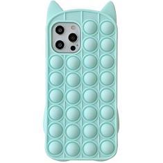 Imagem de Capa YEARN MALL para iPhone XR, Capa para Telefone à Prova de Choque Push Bubble Fidget Toy, Alívio do Estresse e Anti-Ansiedade, Gato(Arco-íris)