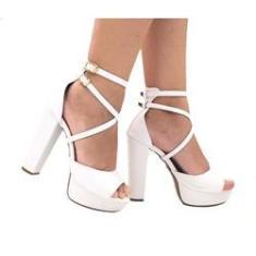 Imagem de Sandalia Feminina  Salto Alto Salto Grosso Meia Pata Plataforma Noivas Sapatos Femininos