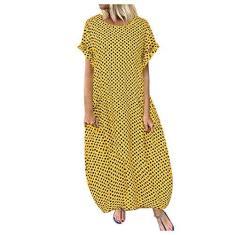 Imagem de SLENDIPLUS Vestido longo de algodão casual, plus size, estampado, casual, de manga curta, com bolsos, , XXG
