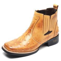 Imagem de Bota Country Masculina Bico Quadrado Top Franca Shoes Avestruz Banana