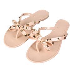 Imagem de Sandálias femininas elegantes rebite chinelos planos bowknot para meninas chinelos chinelos gelados