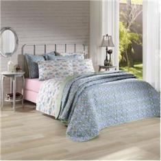Imagem de Jogo de cama duplo queen 150 fios linha Prata estampa Angela  - Santista