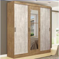 Guarda-Roupa Casal 3 Portas Gavetas com Espelho 4228-21 Ipe Tex/Vanilla Maxel Móveis