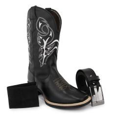 Imagem de Kit Bota Western Masculina Bico Quadrado em Couro Texas Gold Delegada