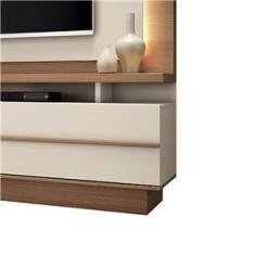 """Imagem de Estante Home Theater Premium para TV de até 70"""" Nature/Off White - PR Móveis"""