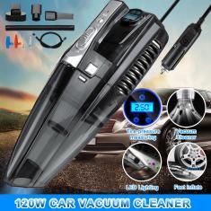 Imagem de Aspirador de pó portátil para carro 4 em 1 com manômetro digital inteligente da bomba de inflador de pneus e luz LED - 12V / 120W 5000Pa 5000Pa Aspirador de pó portátil para veículos molhado / seco portátil com cabo de alimentação de 4,2M