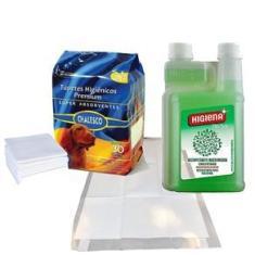 Imagem de Kit Tapete higiênico Chalesco 60x90 cm com Desinfetante Concentrado  Higiena Herbal  500  ml