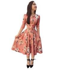 Imagem de Vestido midi Gode Floral Com Zíper Suplex moda evangelica cinto