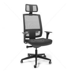 Imagem de Cadeira Presidente Brizza Tela - Autocompensador Slider - Base Piramidal - Braços 3D pp - Plaxmetal