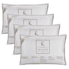 Imagem de Kit 04 Travesseiros Kacyumara Toque de Pluma 100% Algodão 233 Fios