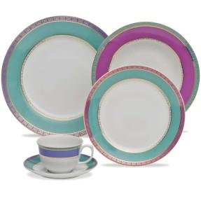 Aparelho de Jantar Redondo de Porcelana 30 peças - Flamingo Jóia Brasileira Oxford Porcelanas