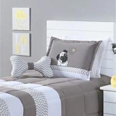 Imagem de kit cobre leito dog solteiro algodão infantil 4 peças