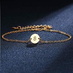 Imagem de Jilin Pulseira de disco com letra do alfabeto personalizada ouro A a Z Pulseira de amizade