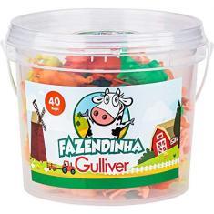 Imagem de Balde Fazendinha com 40 Figuras Coloridas Gulliver - 1012