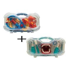 Imagem de 3 Brinquedos Maleta Medico Dentista E Maleta De Ferramentas