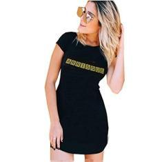 Imagem de Vestido Curto Feminino Viscolycra Moda Frases Arrisque  G