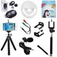 Imagem de Kit Youtuber Mini Tripé Bastão de Selfie Microfone de Lapela Acessórios para Celular Vlog Vídeos