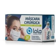 Máscara Cirúrgica Descartável Tripla Com Elástico 50 Unidades Lola