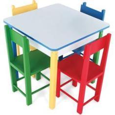 Imagem de Mesa Infantil Com 4 Cadeiras Carlu Coloridas